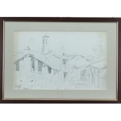 Lorenzo Gignous -  Paesaggio lacustre con barca e figure