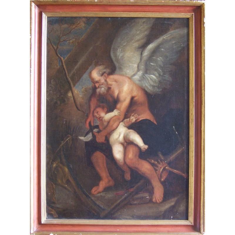 Maestro del XVII secolo -  Chronos taglia le ali a Eros